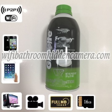 Very Small Hidden Camera Wireless HD 1080P Hidden Bathroom Shaving Foam Bottle Camera For iOSAndriod System